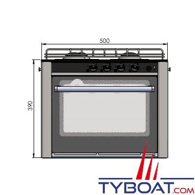 Can - Cuisinière inox 3 feux avec four 30 litres - 500 x 390 x 410 mm