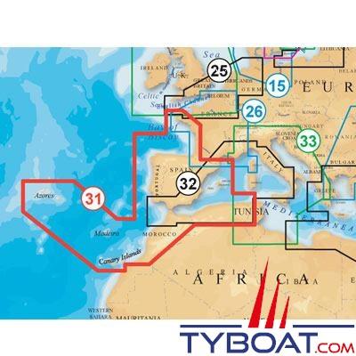 Carte NAVIONICS PLATINUM+ XL3 ZONE 31P+ Golfe de Gasgogne Espagne Portugal