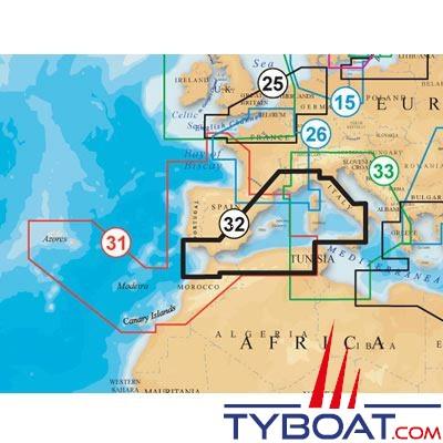 Carte NAVIONICS PLATINUM+ XL3 ZONE 32P+ Méditerranée Ouest