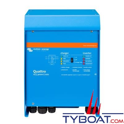 VICTRON ENERGY - Chargeur - Convertisseur Quattro 12 Volts 3kVA (2500 Watts) 120 Ampères 230 Volts commutateur de transfert 50/50A
