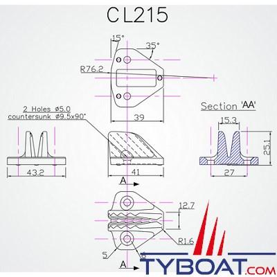 Clamcleat CL215 coinceur ouvert midi polyamide noir latéral pour cordage Ø 4 à 8 mm