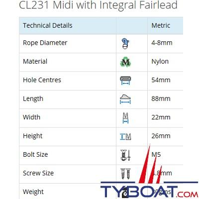 Clamcleat - CL231 - Coinceur à pontet midi polyamide pour cordage Ø 4 à 8 mm