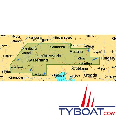 C-MAP - Carte 4D Local format SD micro SD - EN-D068 Central European Lakes