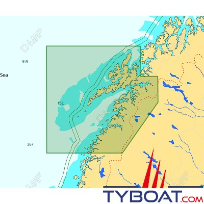 C-MAP - Carte 4D Local format SD micro SD - EN-D595 Norway Melfjorden to Narvik and Lofoten Island
