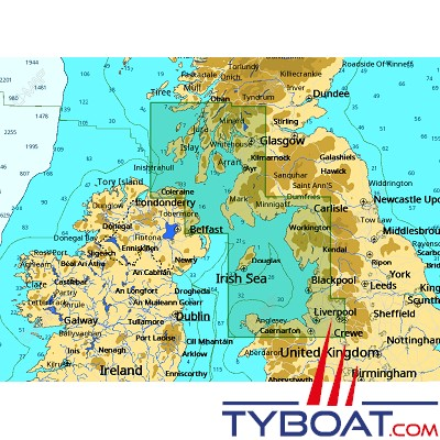 C-MAP - Carte 4D Local format SD micro SD - EW-D322 United Kingdom Irish Sea and North Channel