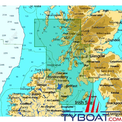 C-MAP - Carte 4D Local format SD micro SD - EW-D323 United Kingdom Kyle of Lochalsh to Isle of Man