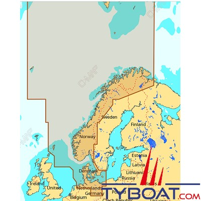 C-MAP - Carte Max Wide (Europe) format SD micro SD - EN-M300 North Sea and Denmark