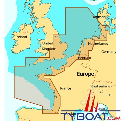 C-MAP - Carte Max Wide (Europe) format SD micro SD - EW-M227 North-West European coasts