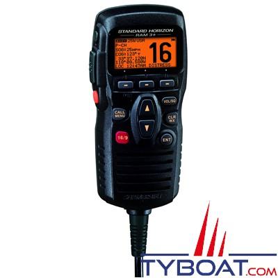 Combiné externe noir avec télécommande Standard Horizon CMP31B avec prise de pont pour VHF fixe