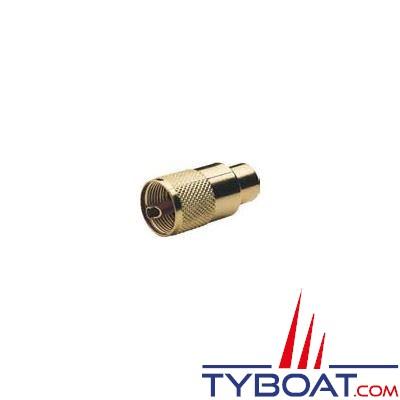 Connecteur RA131 Gold Glomex PL259 mâle plaqué or pour câble RG213/U