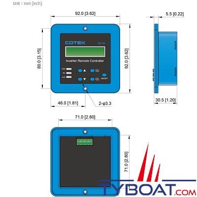 Cotek CR-10 - Panneau de commande à distance 12/24 Volts avec affichage por série SD