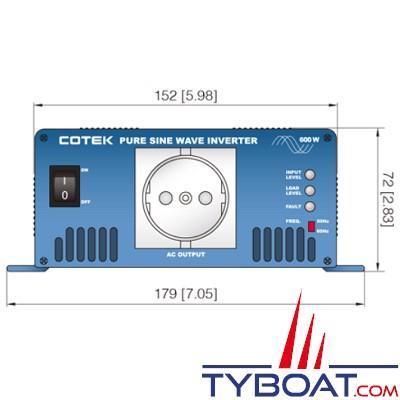 Cotek S600-224 - Convertisseur DC-AC - 230 Volts - 600 Watts - 24 Volts