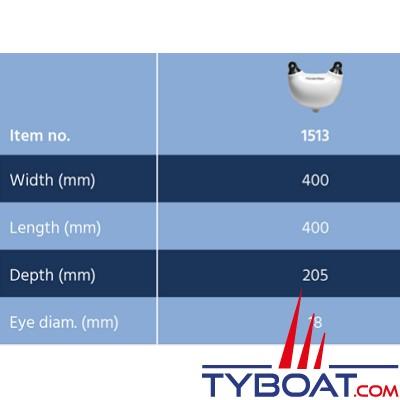 Dan Fender - Pare-battage une marche -  400 x 400 x 205 mm - Blanc oeil noir