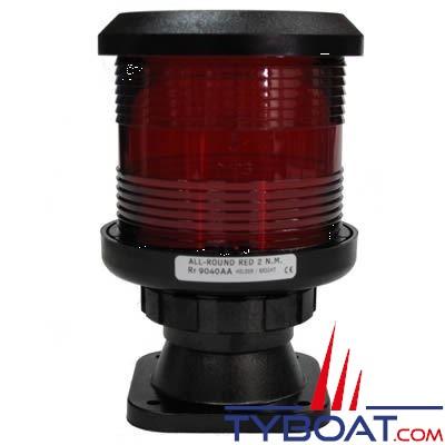 DHR - Feu de navigation série 35 - Fixation sur base V - Tout horizon Signalisation rouge - Secteur 360° - Visibilité 2Nm