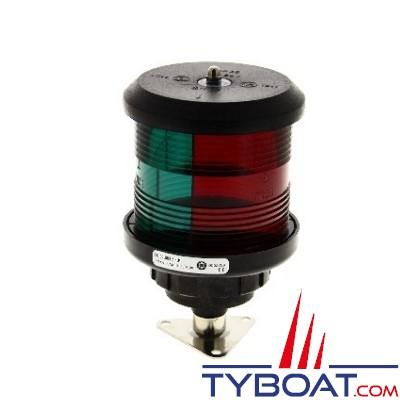 DHR - Feu de navigation série 35 - Fixation sur base V - Tricolore  Vert/Rouge+Rouge - Secteur 112,5°/112,5°/135° - Visibilité 2Nm