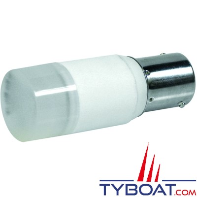 Dixplay - Ampoule à LED BA15S 1 led blanc chaud 8-35 Volts 2 Watts