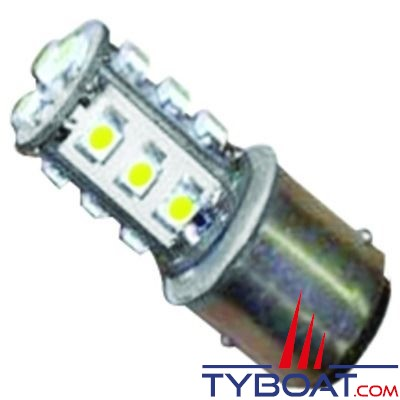 Dixplay - Ampoule à LED BAY15D 12+4 leds blanc neutre 8-35 Volts 1,3 Watts
