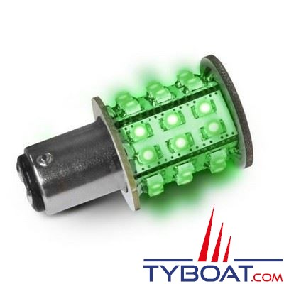 Dixplay - Ampoule à LED BAY15D 33 leds vert 8-35 Volts 3 Watts