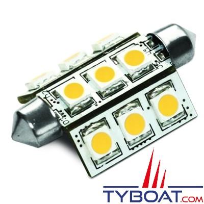 Dixplay - Ampoule navette SV8.5 9 Leds 42x25mm 8-35 Volts 1 Watt blanc chaud