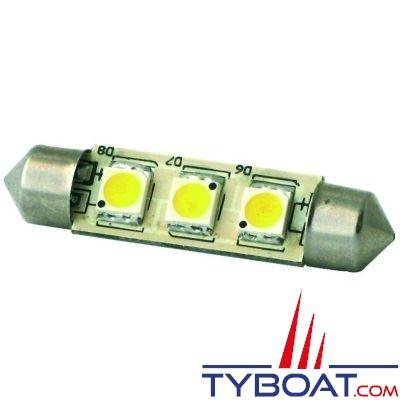 Dixplay - Dixplay - Ampoule SV8.5 3 Leds 42 mm 8-35 Volts 1 Watt blanc chaud