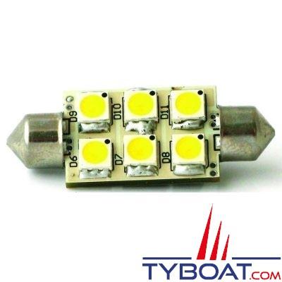 Dixplay - Dixplay - Ampoule SV8.5 6 Leds 42 mm 8-35 Volts 1 Watt blanc neutre