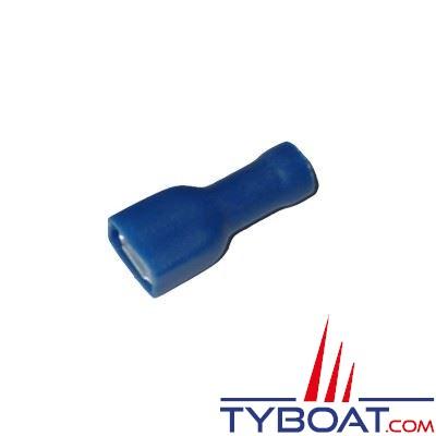 Elematic - Cosse femelle plate bleue - Isolée - Câble 1,5 à 2,5 mm2 - 6,3 mm - (100 pièces)