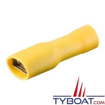 Elematic - Cosse femelle plate jaune - Isolée - Câble 2,5 à 6 mm² - 6,3 mm - (100 pièces)