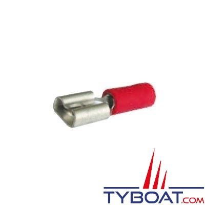 Elematic - Cosse femelle plate rouge - Câble 0,2 à 1,5 mm² - 6,3 mm - (100 pièces)