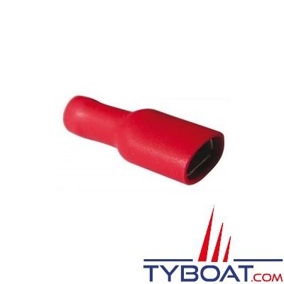 Elematic - Cosse femelle plate rouge - Isolée -Câble 0,25 à 1,5 mm2 - 6,3 mm - (100 pièces)