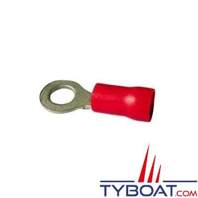 Elematic - Cosse ronde rouge - Câble 0,2 à 1,5 mm² - Trou M4 - (20 pièces)