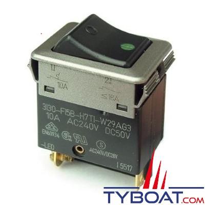 E.T.A - Interrupteur/disjoncteur thermique 3130-F12B-H7T1-W 24 Ampères B7-10 Ampères - AC jusqu'à 230 Volts