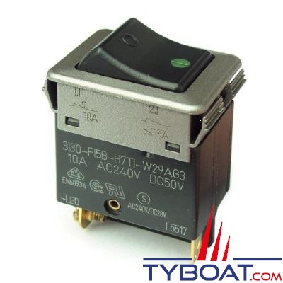 E.T.A - Interrupteur/disjoncteur thermique type 3130-F12B-H7T1-W29AG3 - 6 Ampères - DC jusqu'à 30 Volts