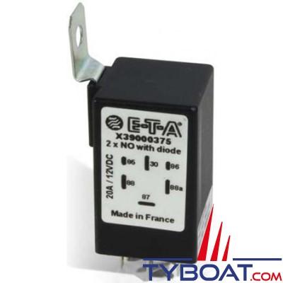 E.T.A - Mini relais bipolaire double - 6 bornes - 12 Volts 20 Ampères