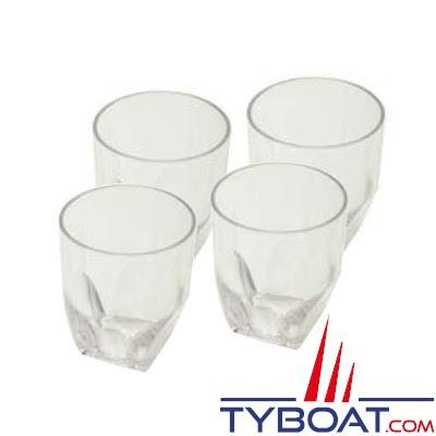 4 verres à eau incassables polycarbonate