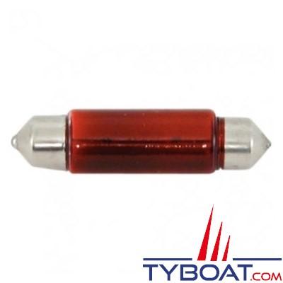 Ampoule navette 10x38mm 12v 5w (x2 pièces) Rouge