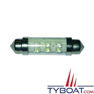 Ampoule navette 6 Leds 12V 10x42 mm 1W (x2)