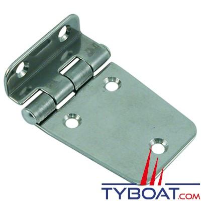 Charnière déportée inox longueur 63 x largeur 40 mm épaisseur 1,5mm (x2 pièces)
