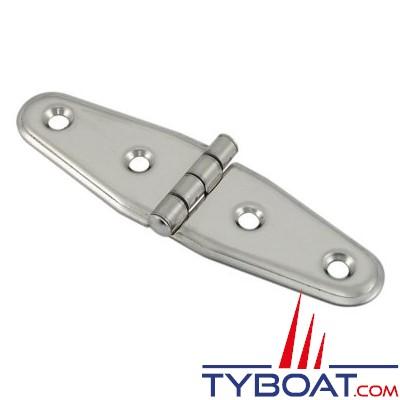 Charnière inox longueur 105 x largeur 30 mm épaisseur 1,5mm (x2 pièces)