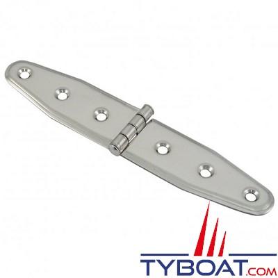 Charnière inox longueur 160 x largeur 30 mm épaisseur 1,5mm (x2 pièces)
