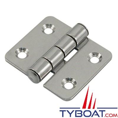 Charnière inox longueur  40 x largeur 40 mm épaisseur 1,5mm (x2 pièces)