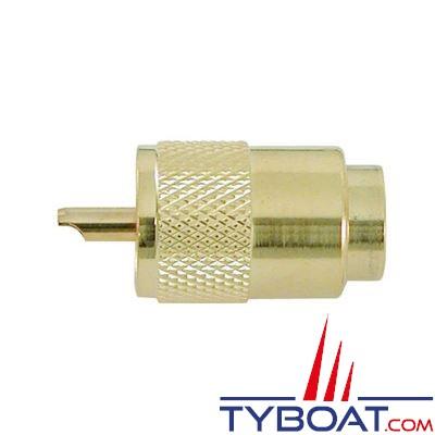 Connecteur mâle VHF PL259/10 plaqué or pour câble RG213
