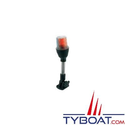 Feu de navigation tricolore étanche sur hampe 26 cm pour bateaux de moins de 12 mètres