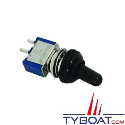 Mini interrupteur unipolaire levier métallique  ON/OFF 10A 12V avec cabochon d'étanchéité