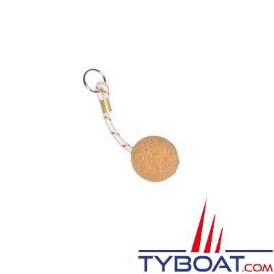 Porte-clés flottant 1 boule de liège Ø 50mm + cordage flottabilité 50g.