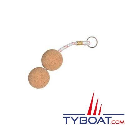 Porte-clés flottant 2 boules de liège Ø 50mm + cordage flottabilité 100g.