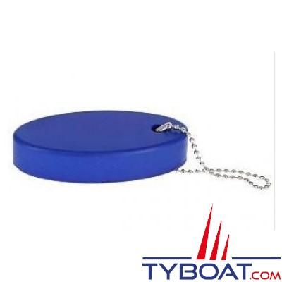 Porte-clés flottant en mousse bleue avec chaine  80 x 35 mm