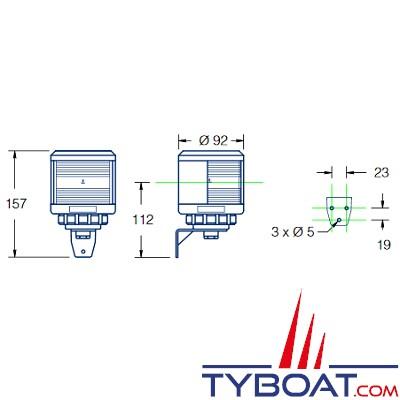 Feu de navigation DHR série 35 fixation latérale hune blanc 225° 3MN