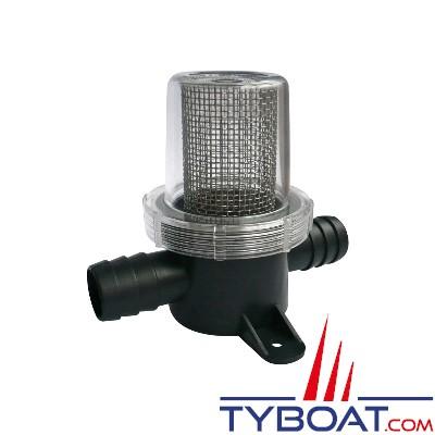 Filtre pour protection de pompe à membrane sur circuit d'eau - maille grosse entrée/sortie 20mm