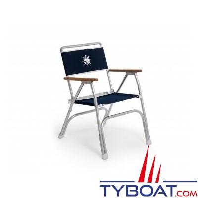 Forma - Fauteuil pliant pour bateau en aluminium et accoudoirs en teck - Bleu