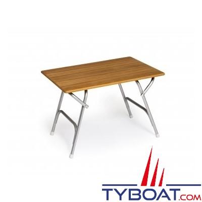 Forma - Table pliante rectangulaire - Cadre aluminium - Plateau teck - 62 x 88 x 61 centimètres